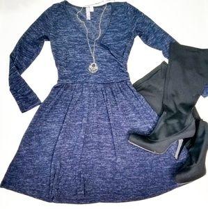Anthro navy sweater wrap dress